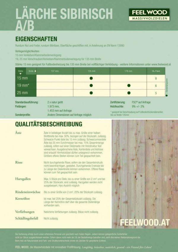 Datenblatt Lärche Massivparkett